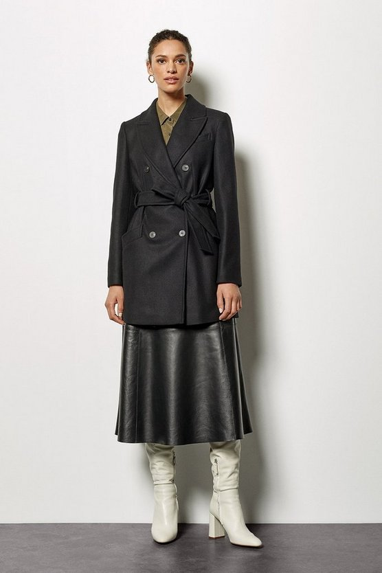 Womens Black Belted Wrap Coat