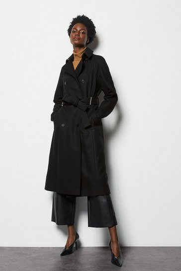 Womens Black Long Wrap Coat
