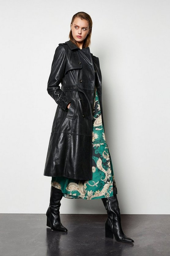 Gun metal Leather Trench Coat