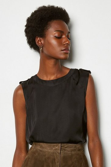 Black Military Shell Top