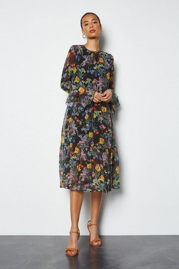 Multi Iris Print Tiered Dress