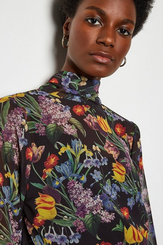 Multi Floral High Neck Blouse
