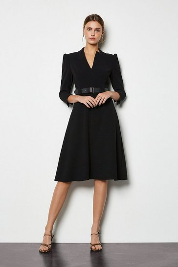 Womens Black Forever Belted A Line Dress