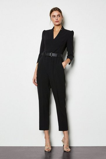 Womens Black Forever Belted Jumpsuit
