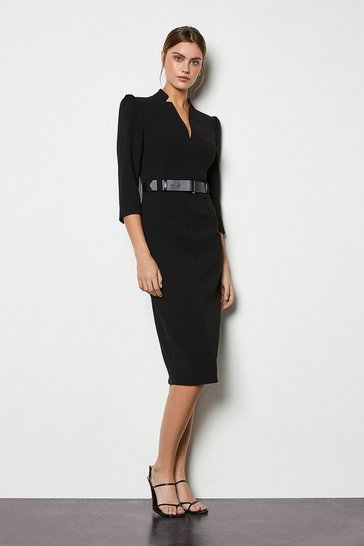 Womens Black Forever Belted Pencil Dress