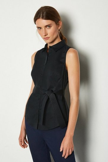 Black Sleeveless Tie Waist Shirt