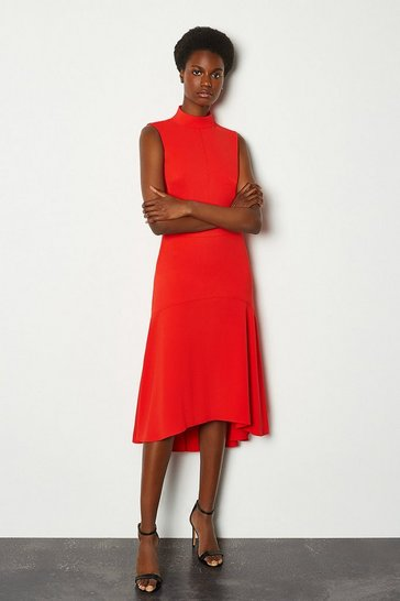 Red Soft Midi Day Dress
