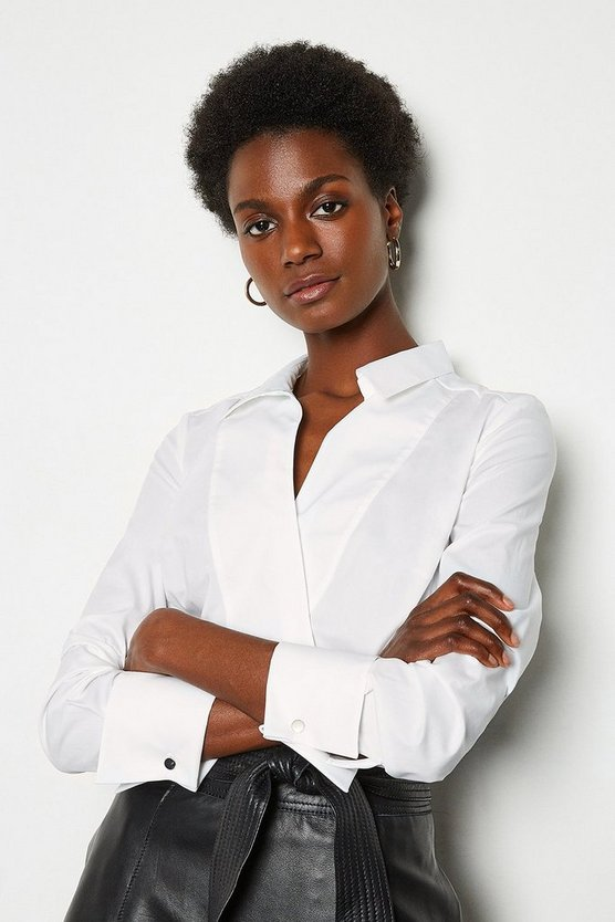 White Tailored Wrap Shirt