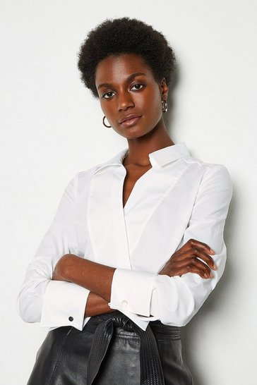 White Long Sleeve Tailored Wrap Shirt