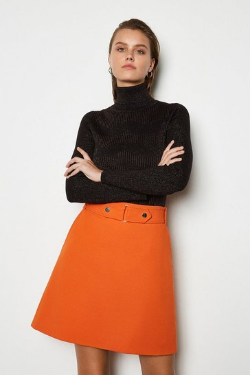 Orange Cinch Waist A-Line Skirt