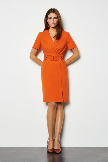 Orange Cinch Waist A Line Dress