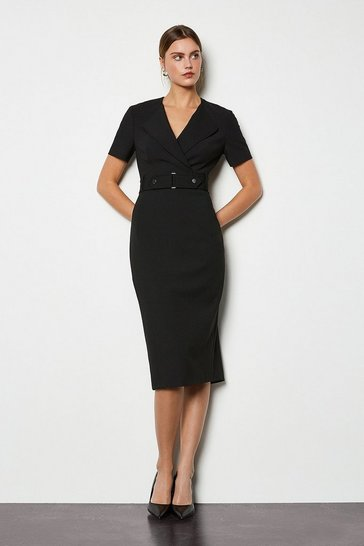 Black Cinch Detail Pencil Dress