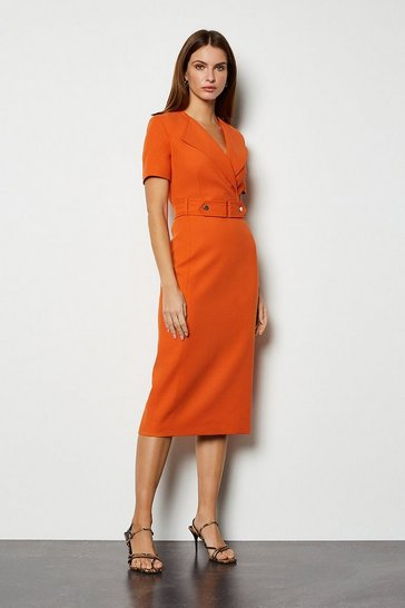 Orange Cinch Detail Pencil Dress