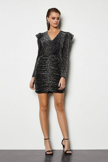 Womens Grey Leopard Devore Jersey Dress