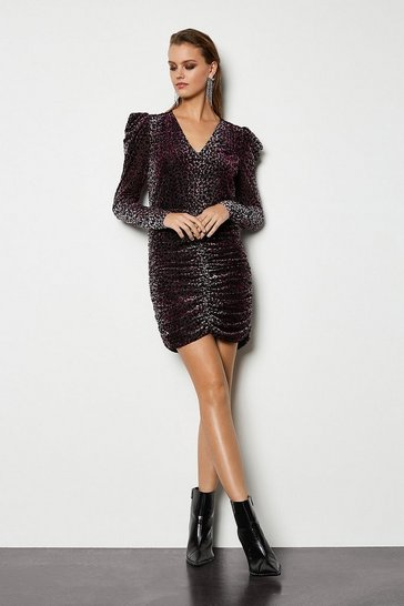 Pink Leopard Devore Jersey Dress
