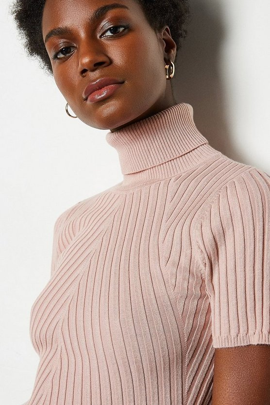 Blush Roll Neck Rib Knitted Top