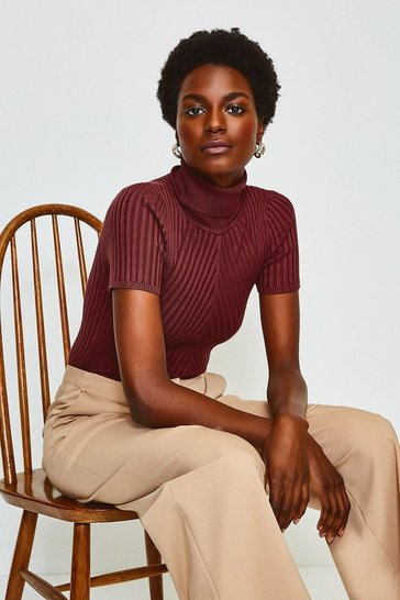 Rust Roll Neck Rib Knitted Top