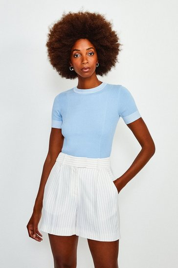 Pale blue Essential Rib Panel Knit Jumper