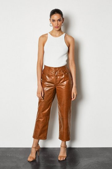 Tan Leather Straight Leg Cropped Trouser