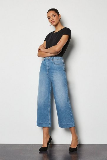 Bleach wash Bleached Wide Leg Cropped Jeans