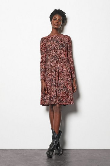 Womens Multi Safari Leopard Print Dress