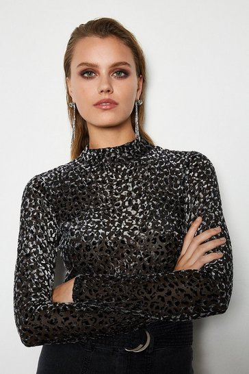 Womens Grey Leopard Devore Jersey Top