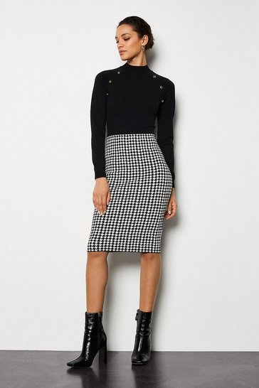 Blackwhite Dog Tooth Skirt Dress