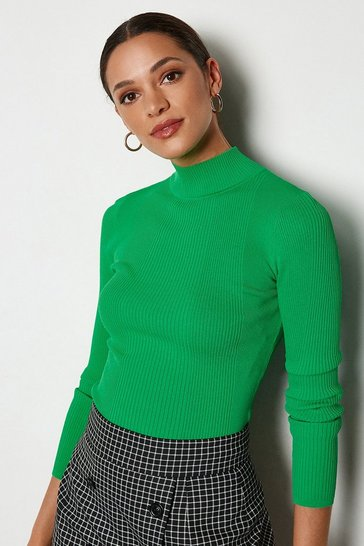 Apple green Essential Skinny Rib Turtleneck Jumper