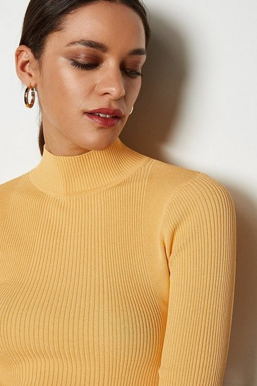Apricot Essential Skinny Rib Turtleneck Jumper