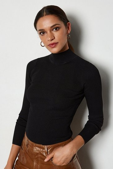 Black Essential Skinny Rib Turtleneck Jumper