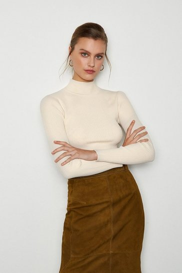 Stone Essential Skinny Rib Turtleneck Jumper