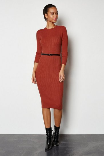 Red Skinny rib knit dress