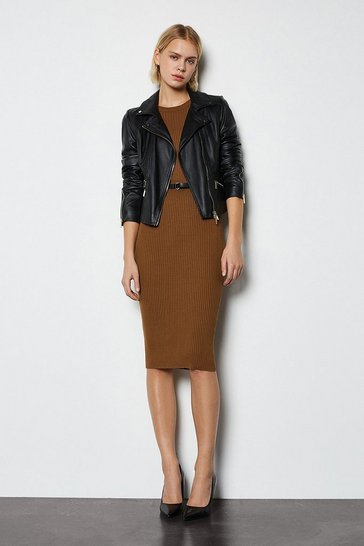 Toffee Skinny Rib Knit Dress