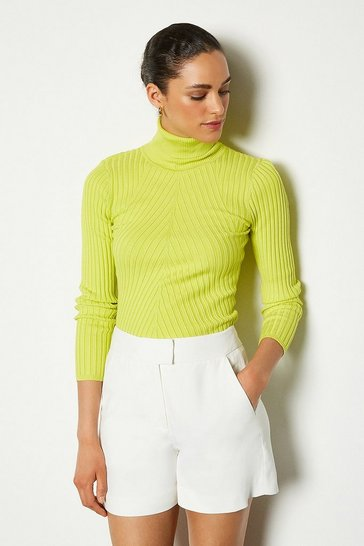 Lime Skinny Ribbed Knit Jumper