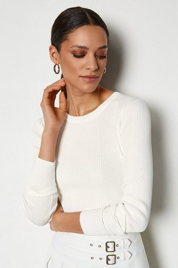 White Essential Skinny Rib Jumper