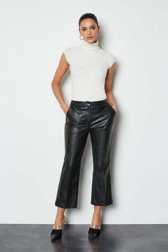 Black Clean Faux Cropped Trousers