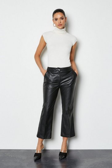 Black Faux Leather Cropped Trouser