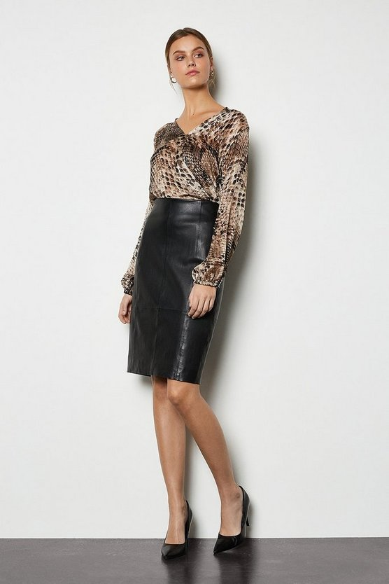 Black Stretch Leather Pencil Skirt