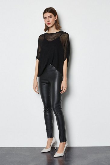 Black Stretch Leather Legging