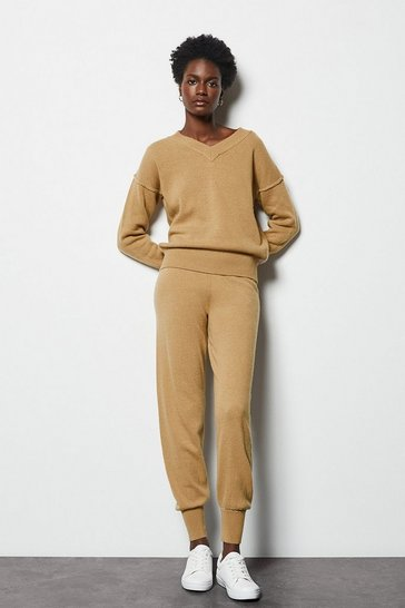 Womens Camel Essential Cashmere Mix Jogger