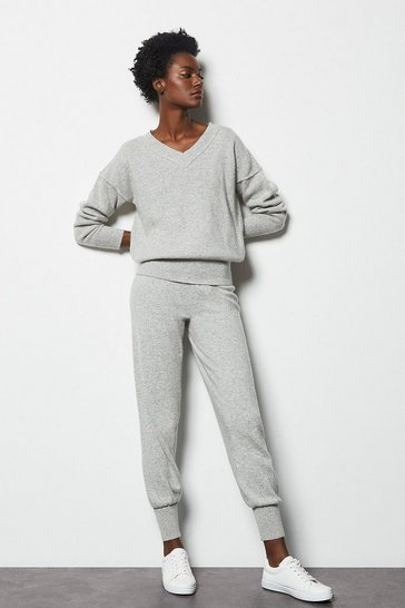 Womens Grey Essential Cashmere Mix Jogger