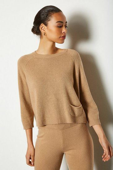 Womens Camel Cashmere Blend Cropped Jumper