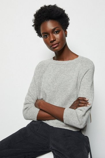 Womens Grey Cashmere Blend Cropped Jumper