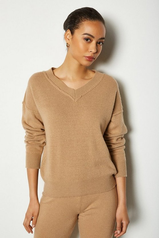Camel Essential Cashmere Blend V Neck Jumper