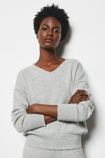 Womens Grey Essential Cashmere Mix V Neck Jumper