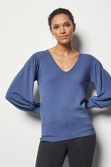 Womens Blue Essential Volume Sleeve Jumper