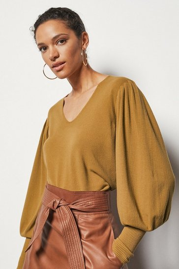 Womens Camel Essential Volume Sleeve Jumper