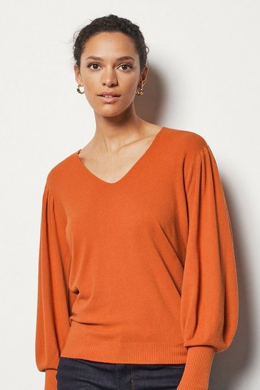 Womens Orange Essential Volume Sleeve Jumper