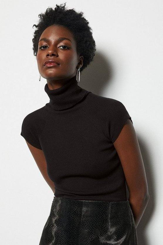 Black Essential Roll Neck Sleeveless Jumper