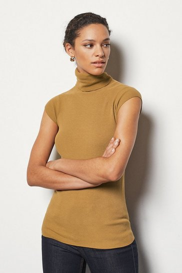 Womens Camel Essential Roll Neck Sleeveless Jumper